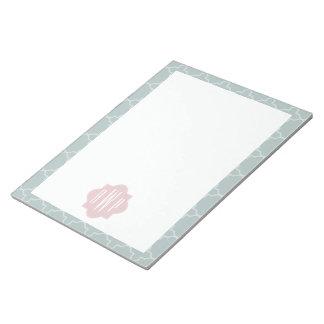 Pink and Green Quatrefoil Monogram Memo Pad