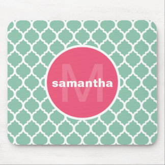 Pink and Green Quatrefoil Monogram Mouse Mat