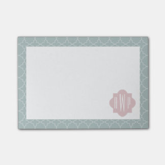 Pink and Green Quatrefoil Monogram Post-It Note