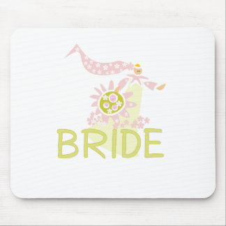 Pink and Green Retro Bride Mouse Pad