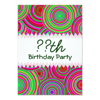 Pink and Green Retro Circles Birthday 13 Cm X 18 Cm Invitation Card