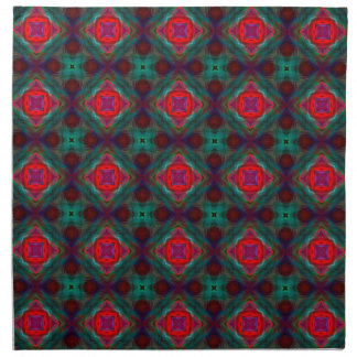 Pink and Green Retro Fractal Pattern Napkin