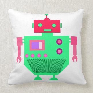 PINK AND GREEN ROBOT Throw Pillow