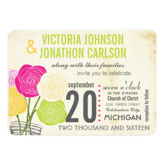 Pink and Green Rose Your Photo Typography Card