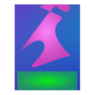 Pink and Green Shapes on Blue Background Postcard