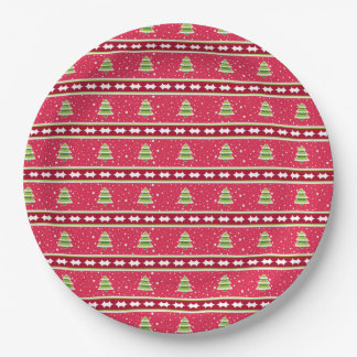 Pink and Green Snow and Trees Paper Plate