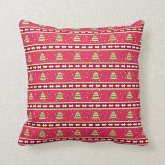 Pink and Green Snow and Trees Throw Pillow