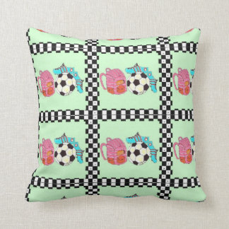 Pink and Green Soccer Girl Throw Pillow
