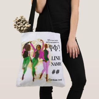 Pink and Green Sorority Black Art Tote Bag