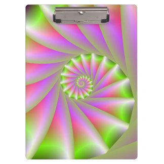 Pink and Green Spiral Clipboard