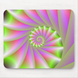 Pink and Green Spiral Mousepad
