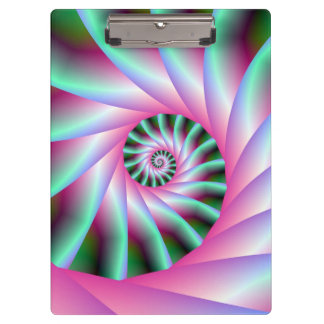 Pink and Green Spiral Steps Clipboard