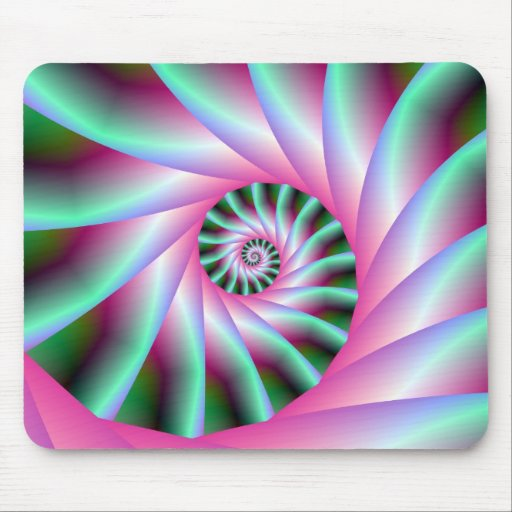 Pink and Green Spiral Steps Mousepads