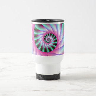 Pink and Green Spiral Steps Stainless Steel Travel Mug