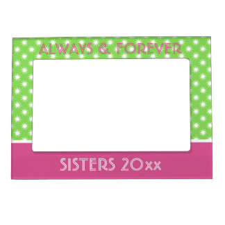 Pink and Green Stars Personalized Magnetic Picture Frame