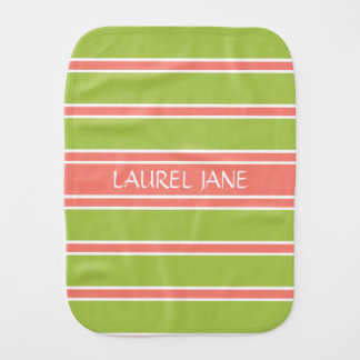 Pink and Green Stripe Personalized Burp Cloth