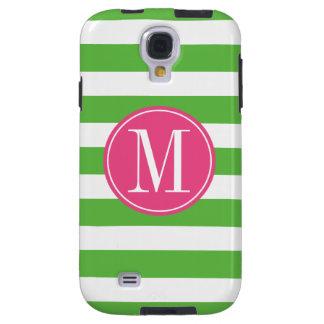 Pink and Green Stripes Custom Monogram Galaxy S4 Case