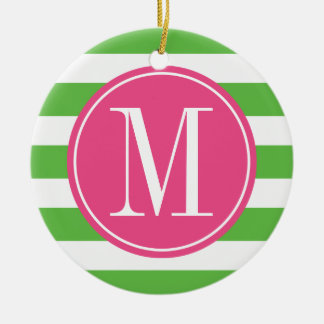 Pink and Green Stripes Custom Monogram Double-Sided Ceramic Round Christmas Ornament