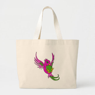 Pink and Green Swallow Tote Bag