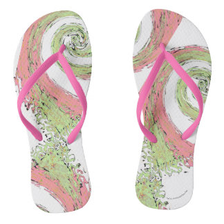 Pink and Green Swirling Abstract Flip Flops