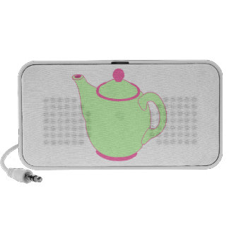 Pink and Green Teapot Laptop Speakers