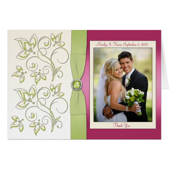 Pink and Green Thank You Card with Photo
