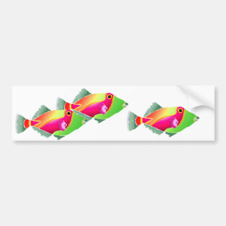 Pink and Green Tropical Fish Bumper Stickers