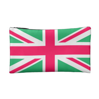Pink and Green Union Jack Flag Cosmetics Bags