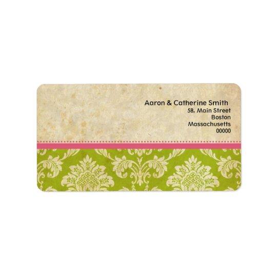 Pink and Green Vintage Damask Address Labels