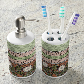 Pink and Green with White Flowers Bathroom Set