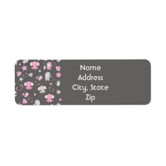 Pink and Grey Baby Elephant Pattern Print