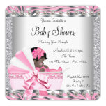 Pink and Grey Baby Shower 13 Cm X 13 Cm Square Invitation Card