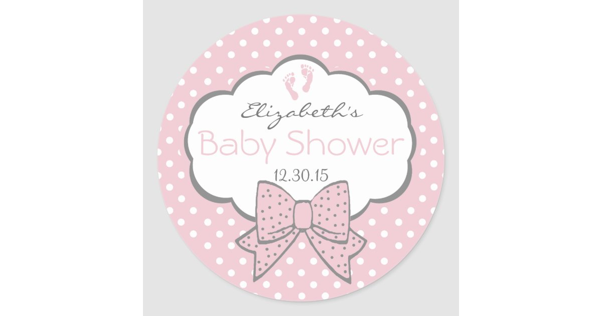 Pink and grey baby shower classic round sticker zazzle co uk