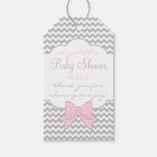 Pink and Grey Baby Shower Guest Favour Thank