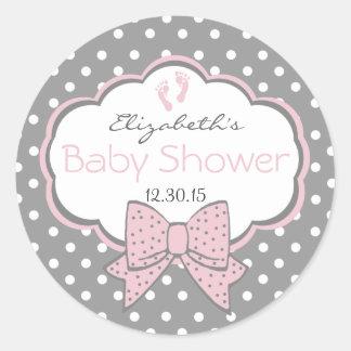 Pink and Grey-Baby Shower Round Sticker