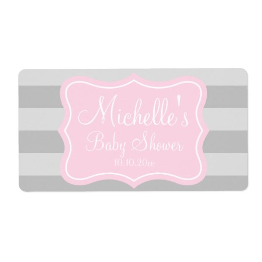 Pink and grey baby shower water bottle labels