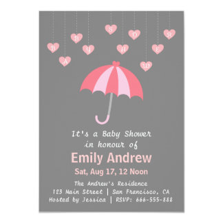 "Pink and Grey Baby Shower with Love and Umbrella 4.5"" X 6.25"" Invitation Card"