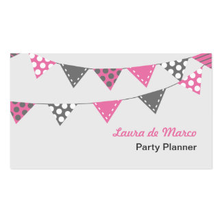 Pink and Grey Bunting Party Planner Pack Of Standard Business Cards