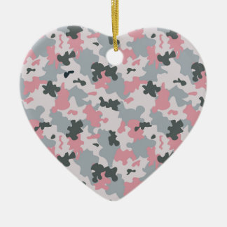 Pink and Grey Camouflage Ceramic Heart Decoration