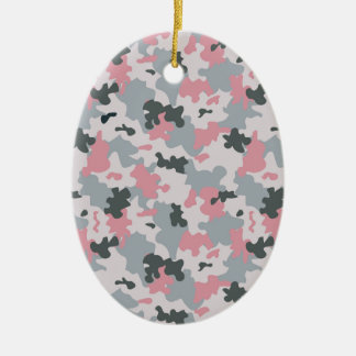 Pink and Grey Camouflage Ceramic Oval Decoration