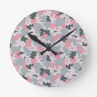 Pink and Grey Camouflage Round Clock