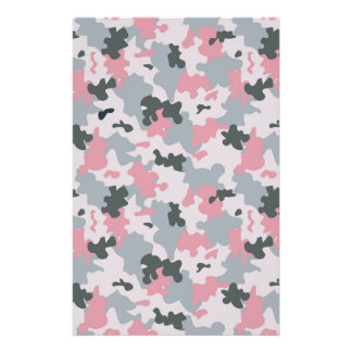 Pink and Grey Camouflage Stationery