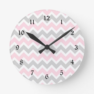Pink and grey chevron baby girl nursery clock
