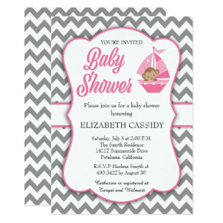 Pink and grey chevron, Girl Baby Shower Invitation