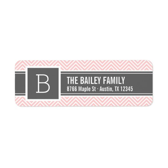 Pink and Grey Chevron Monogram Return Address Label