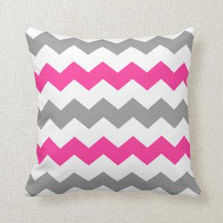 Pink and Grey Chevron Throw Pillow