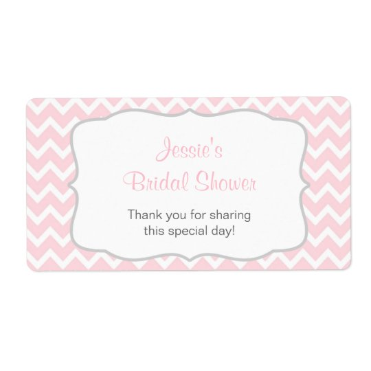 Pink and Grey Chevron Water Bottle Label