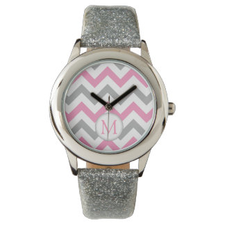 Pink and Grey Chevron with Monogram Watch