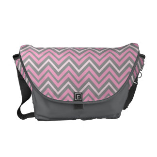 Pink and Grey Chevrons Pattern Messenger Bags
