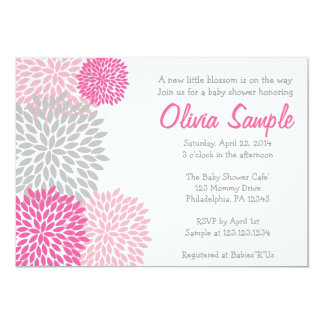 Pink and Grey Dahlia Baby Shower Invitation